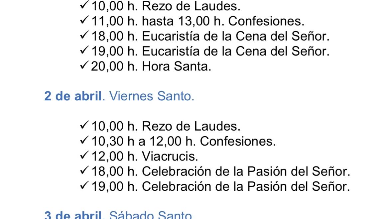 Horarios Semana Santa 2021